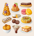 Set of traditional french desserts vector image