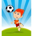 The boy playing soccer cartoon vector image