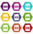 wine list icon set color hexahedron vector image