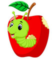 funny caterpillars on a apple vector image