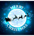 Santa reindeer silhouette on moon background vector image