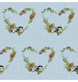 Winter Birds Retro Background - Seamless Pattern vector image