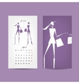 Calendar 2016 grid Fashion girls design vector image