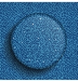 glass circle button on shiny blue sequins vector image