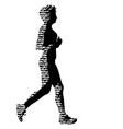 black silhouettes runners sprint women on white vector image
