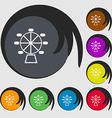 Ferris wheel icon sign Symbols on eight colored vector image