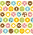 Pixel art style donut seamless background vector image