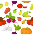 Vegetables and fruits seamless background vector image