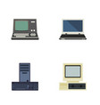 flat icon computer set of processor notebook vector image