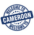 welcome to cameroon blue round vintage stamp vector image