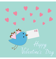 bird with letter and hearts Happy Valentine Day vector image