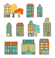 Bright hand-drawn buildings vector image