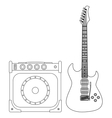 Electric Guitar and Amplifier vector image