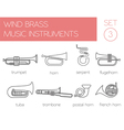 Musical instruments graphic template Wind brass vector image