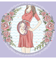 Pregnant woman with cute baby and flower frame vector image