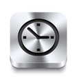 Square metal button perspektive - watch icon vector image