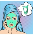 Woman with beauty cosmetic mask on face vector image