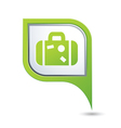 Map pointer with suitcase icon vector image vector image