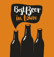 banner with three bottles of beer and inscription vector image vector image