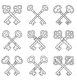 Set of crossed keys design elements vector image