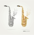 Abstract saxophone of colored dots vector image