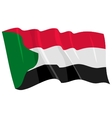 political waving flag of sudan vector image vector image