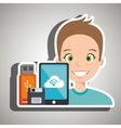 man with smartphone and storage devices isolated vector image