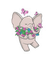 cute hand drawn elephant with flowers vector image