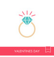 flat wedding ring with a diamond icon vector image