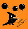 happy halloween black silhouette monster with vector image