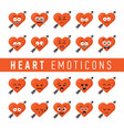 set of flat design style heart emoticons vector image