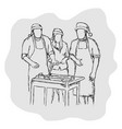 three people having camping and having bbq vector image
