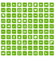 100 location icons set grunge green vector image