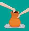 potter making a pottery vector image