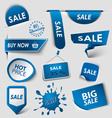 Collection web blue pointers labels for shopping vector image vector image