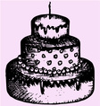 three tiered cake candle vector image vector image