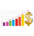 business graph with gold Dollar sign vector image
