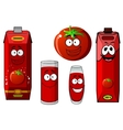 Cartoon tomato vegetable and juice packs vector image
