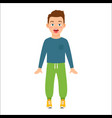 scared boy in blue shirt vector image