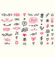 set of valentines day hand drawn doodles icons vector image