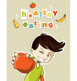 Happy teenager present healthy food vector image
