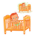 baby is in his cot vector image
