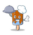 Chef ice cream character cartoon with food vector image