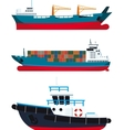 cargo Vessels and tugboat vector image