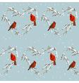 Winter Birds Retro Background - Seamless Pattern vector image vector image