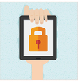 Hand holds smart phone with cloud security concept vector image