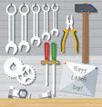 Happy Labor Day with tools set Digital image vector image