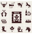 Wild West wanted poster and associated icons vector image
