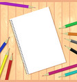 Spiral bound notepads and pen template or vector image