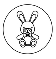 monochrome contour with Stuffed rabbit in round vector image